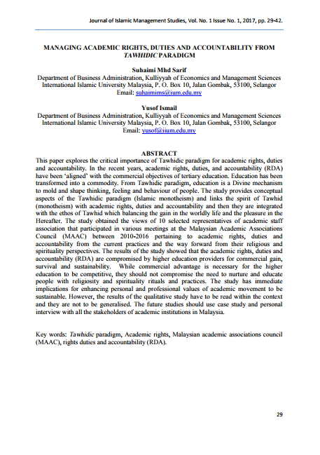 Managing Academic Rights, Duties And Accountability From Tawhidic Paradigm